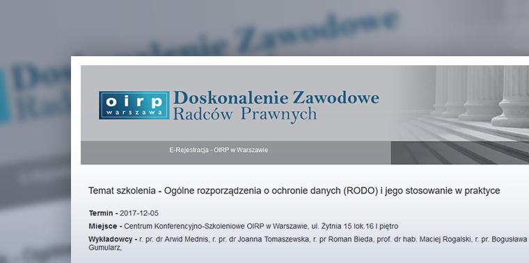Okręgowa Izba Radców Prawnych w Warszawie – szkolenia zawodowe z GKK
